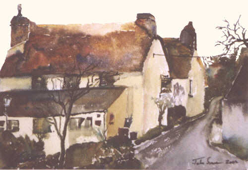 Watercolour of Smugglers Den Trebellan Cubert - Cornwall